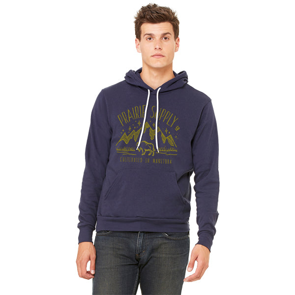 Prairie Supply Co. Unisex Hoodies - Cultivated Mountain Pullover - Navy/Gold