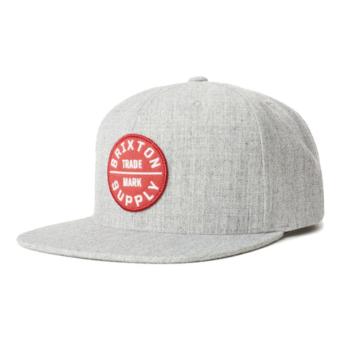 Brixton Men's Hats - Oath lll Snapback - Heather Grey/Lava Red