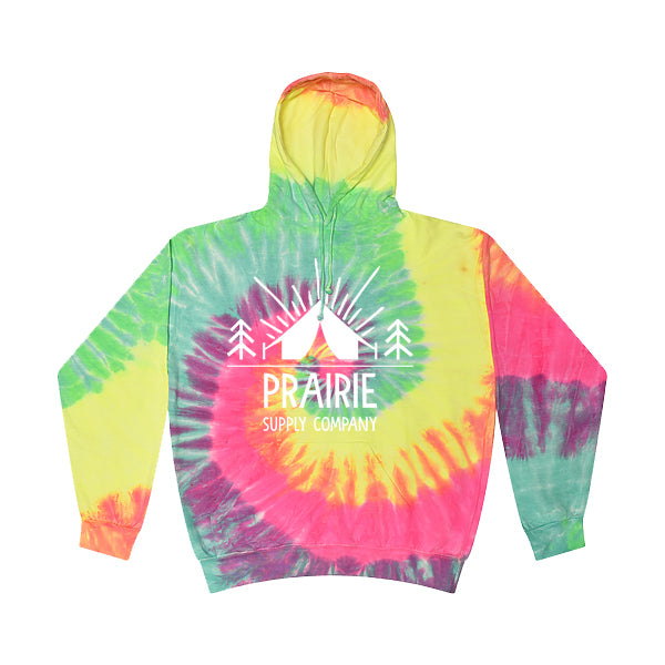 Prairie Supply Co. Unisex Hoodies - Pitch a Tent Pullover - Minty Rainbow/White