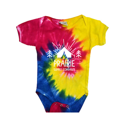 Prairie Supply Co. Onesies - Pitch a Tent - Spiral Rainbow/White