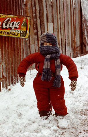 Randy from a Christmas Story embracing the snow