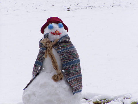 A snowman out in the snow
