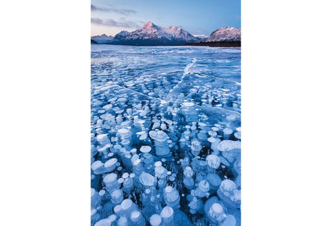 Frozen lake bubbles in lake abraham