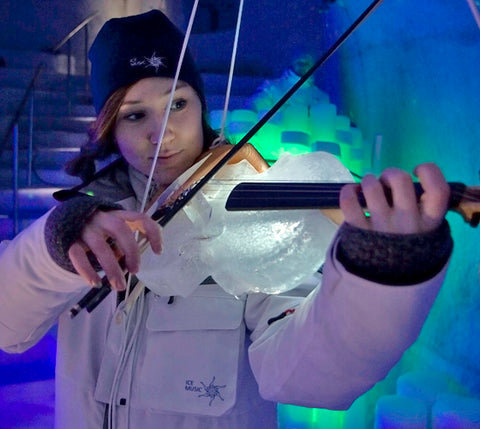 violin made of ice