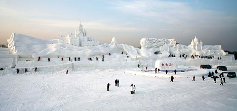 snow sculpture in china; the ice maiden