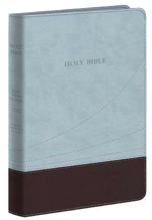 KJV Large Print Thinline Bible - Light Blue/Chocolate Flexisoft Binding
