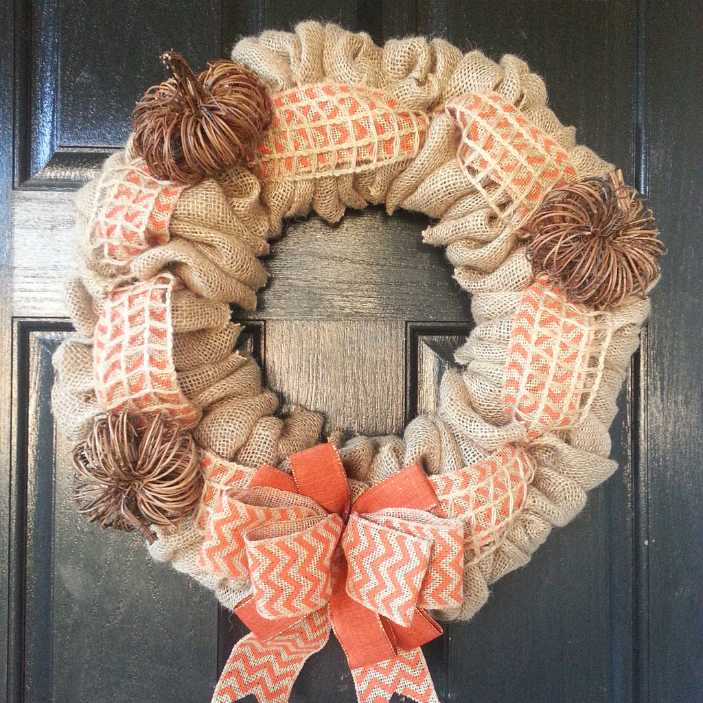 Grapevine Pumpkin Burlap Wreath