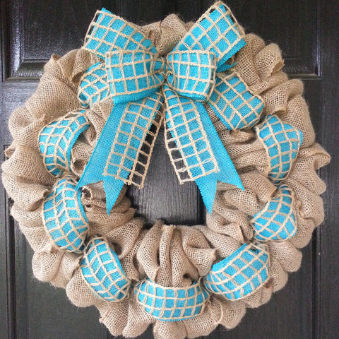 Netted Teal Burlap Wreath