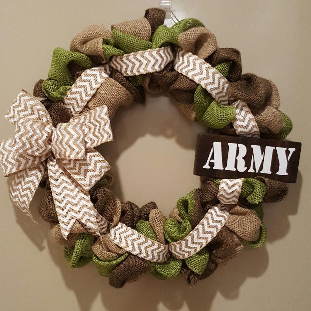 Military/Army Camo Burlap Wreath