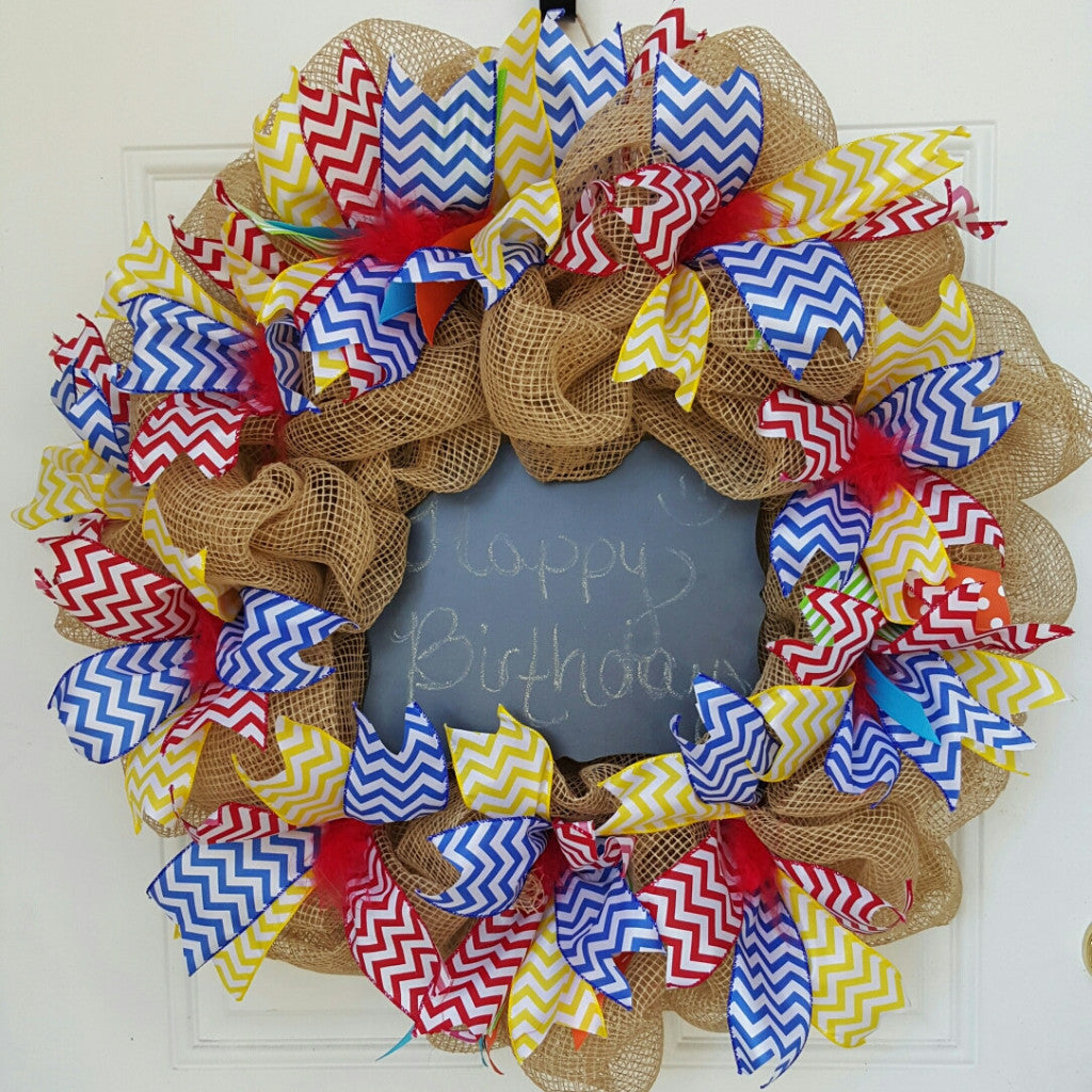 Birthday Deco Mesh Wreath