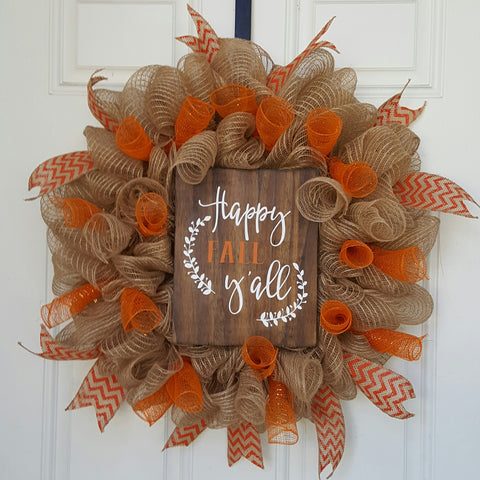 Happy Fall Y'all Mesh Wreath