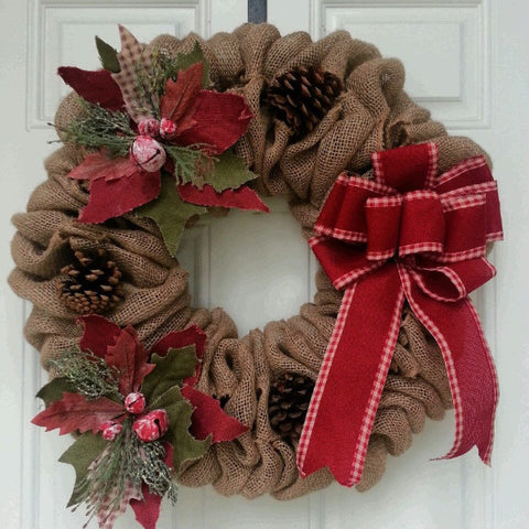 Piney Poinsettia Burlap Wreath