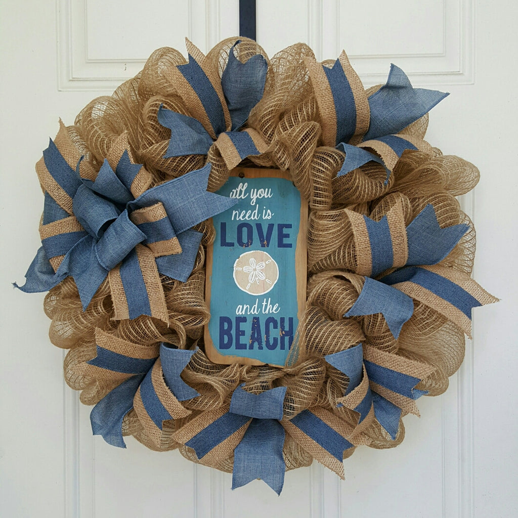 Denim Sand Dollar Beach Mesh Wreath
