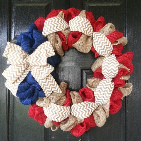 A- Patriotic Burlap Wreath