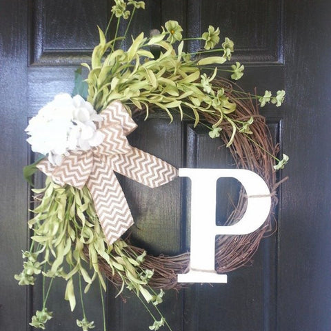 Grapevine Wreath with Letter