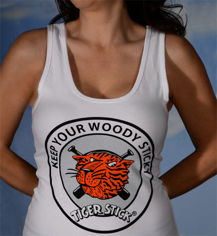 Women's sexy tank: Keep Your Woody Sticky