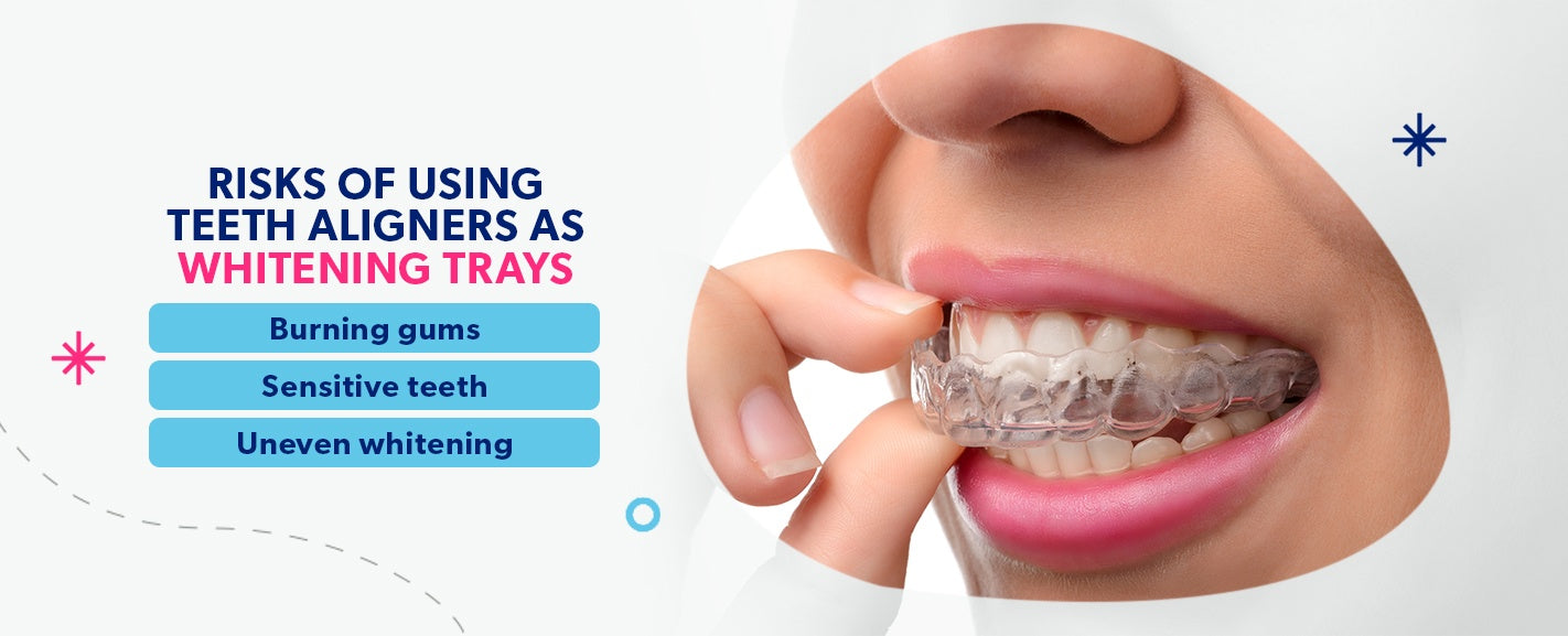 Risks of using aligners as whitening trays [list]