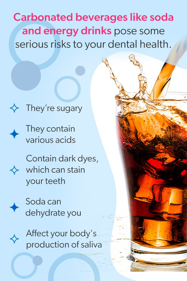 Carbonated beverages pose serious risks to your dental health [list].