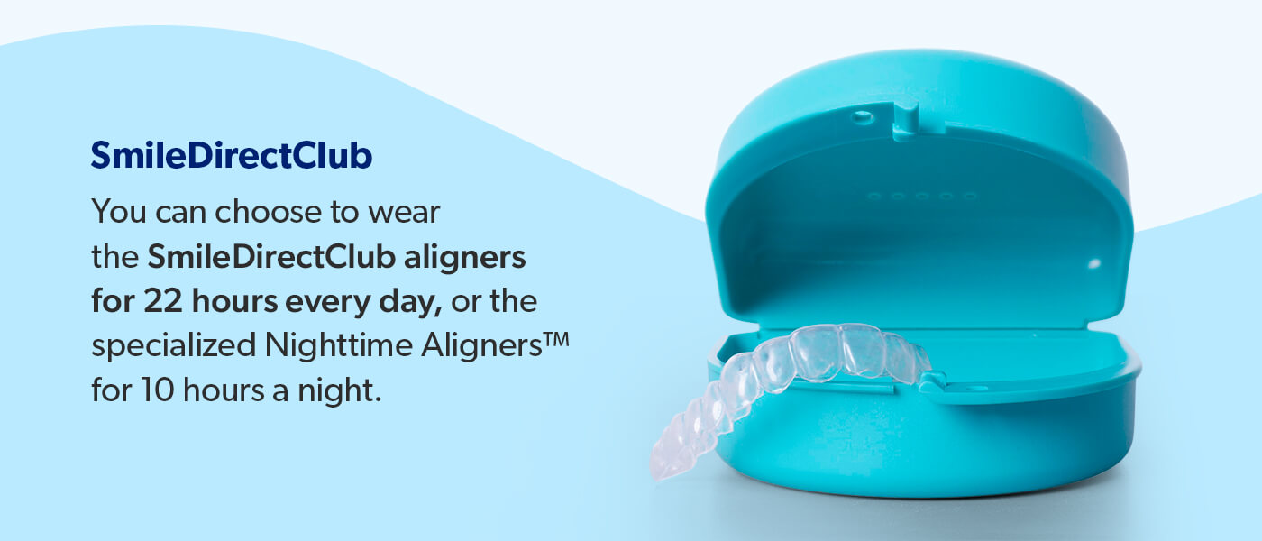 SmileDirectClub aligners are worn for 22 hours a day of have specialized Nighttime Aligners for