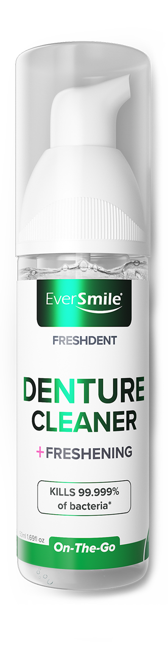 Clean & freshen dentures at home or on-the-go. No harsh chemicals needed.