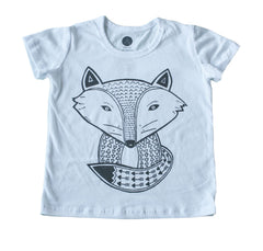 Sleepy Fox Tee - White/Grey