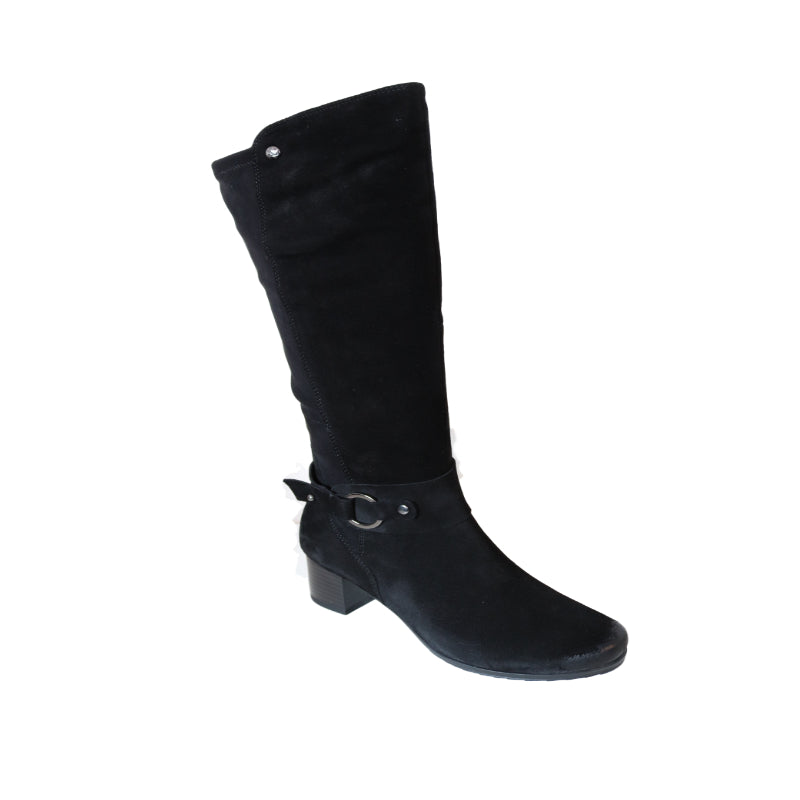 Caprice Knee Length Black Suede Boot