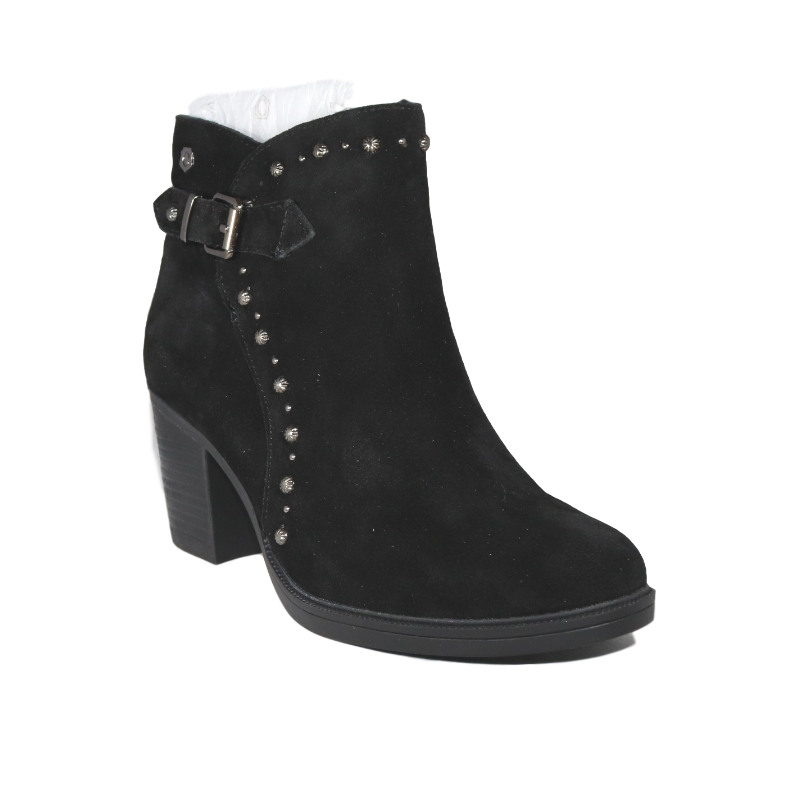 Carmela Black Suede Ladies Ankle boot