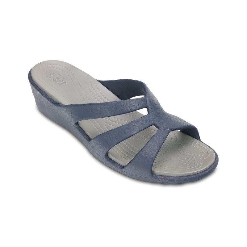 Crocs Sanrah Strappy Wedge Womens Navy-Smoke
