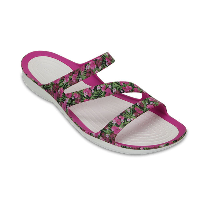 Crocs Swiftwater Graphic Sandal Womens Pink-Flower