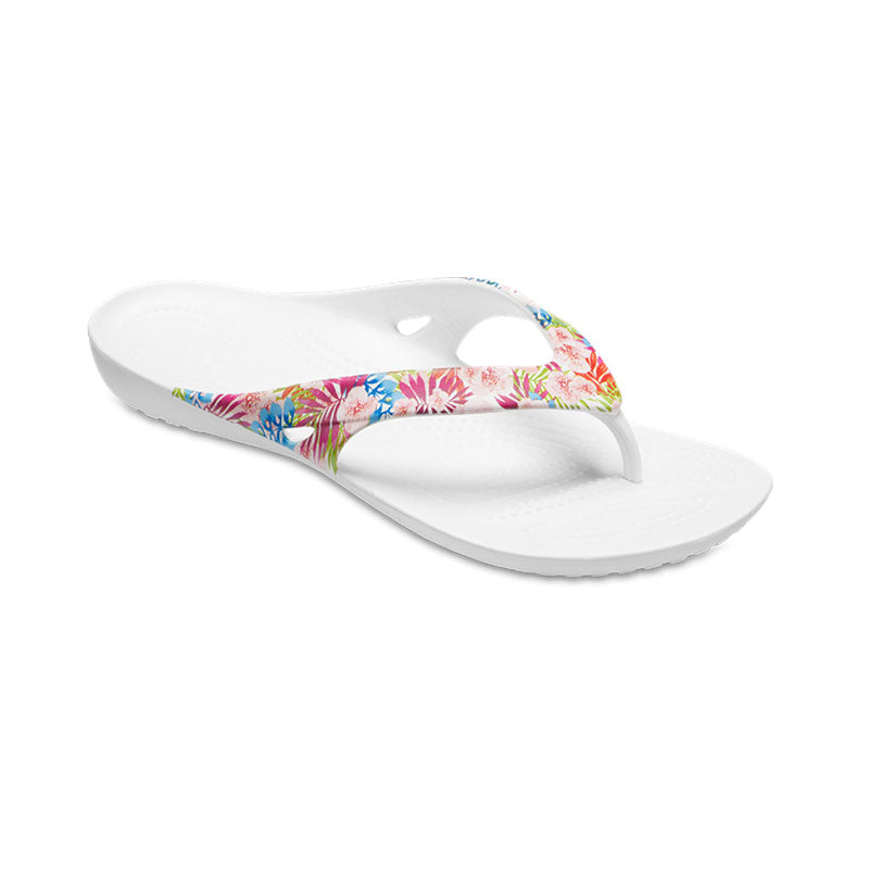 Crocs Womens Kadee 11 Graphic Flip Tropical Floral White