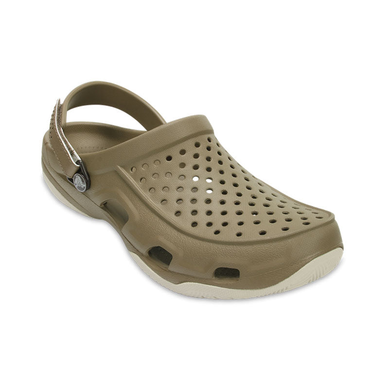 Crocs Mens Swiftwater Deck Clog Khaki Stucco