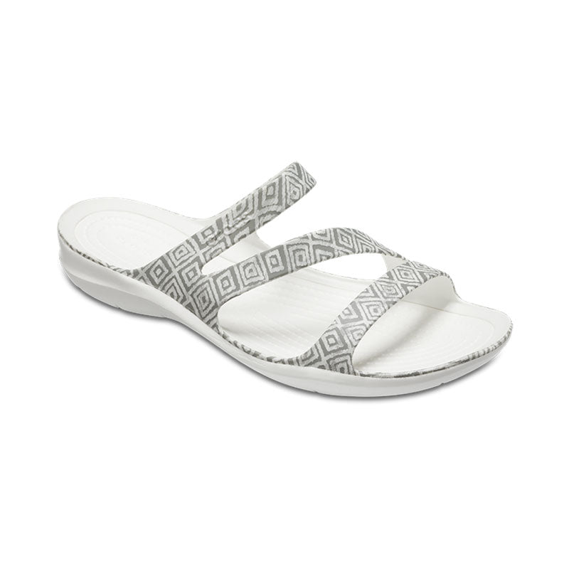 Crocs Womesn Swiftwater Graphic Sandal Grey Diamond White