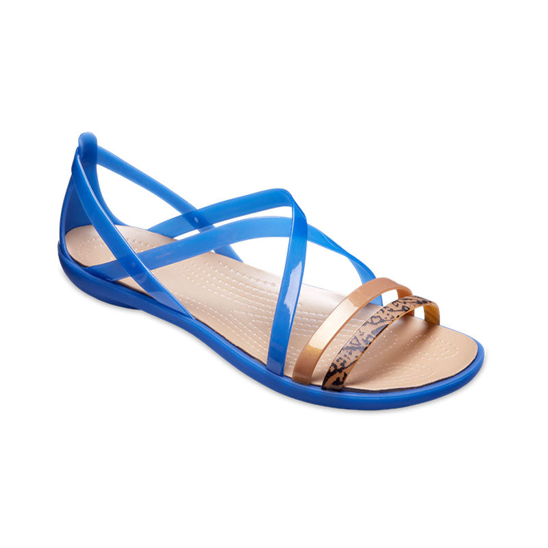 Crocs Womens Isabella Graphic Strappy Sandal Blue Jean Gold