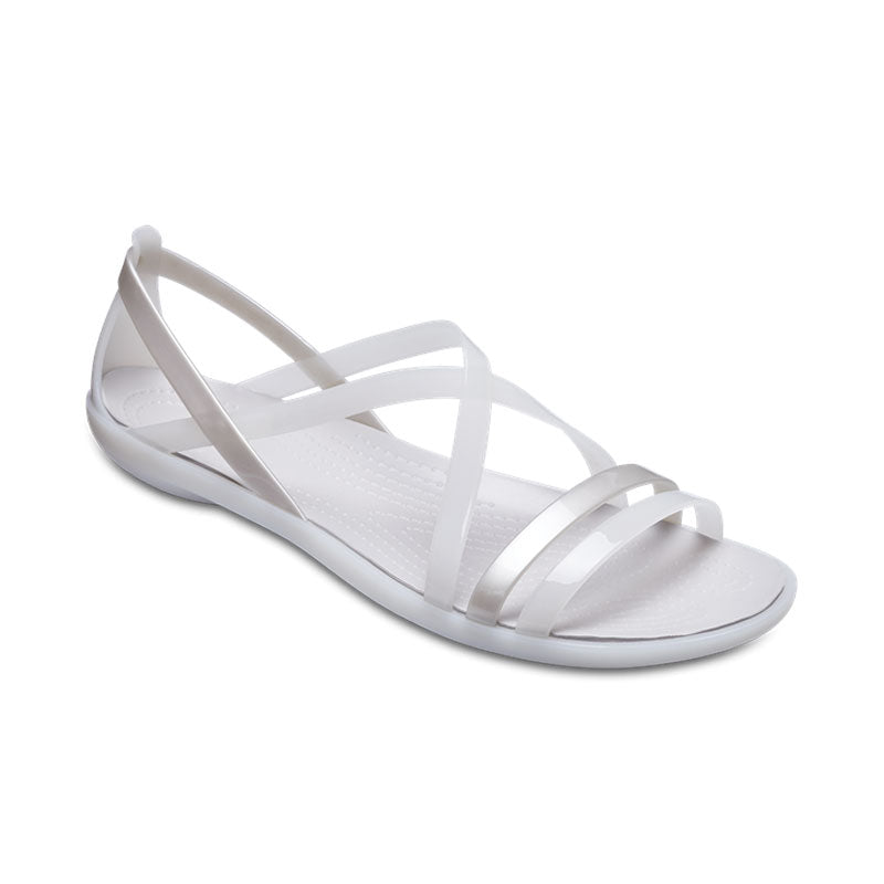 22c3136c8be9 Crocs Womens Isabella Strappy Sandal Oyster Pearl White