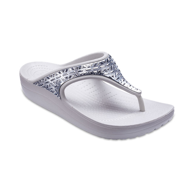 Crocs Womens Sloane Graphic Etched Metallic Flip Pearl White Silver