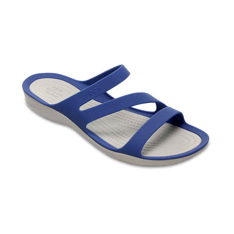 Crocs Womens Swiftwater Sandal Tropical Blue Jean Pearl White