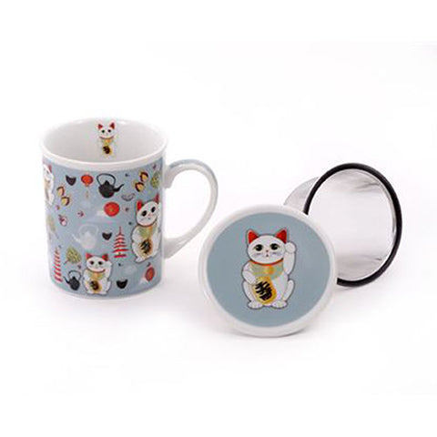 Lucky Cat Mug w/Infuser