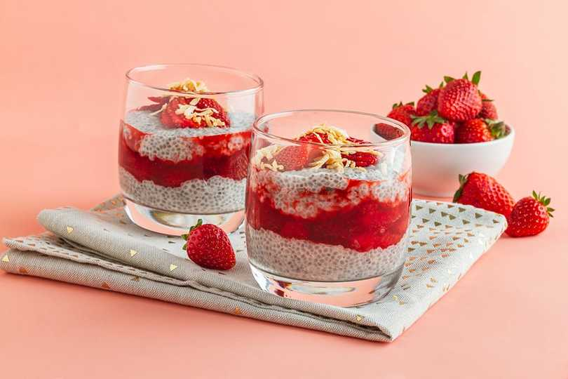 Coconut Chia Pudding With Strawberry Compote