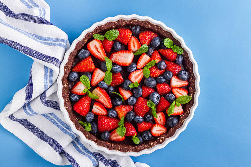 Healthy No-Bake Chocolate and Mixed Berry Tart Recipe