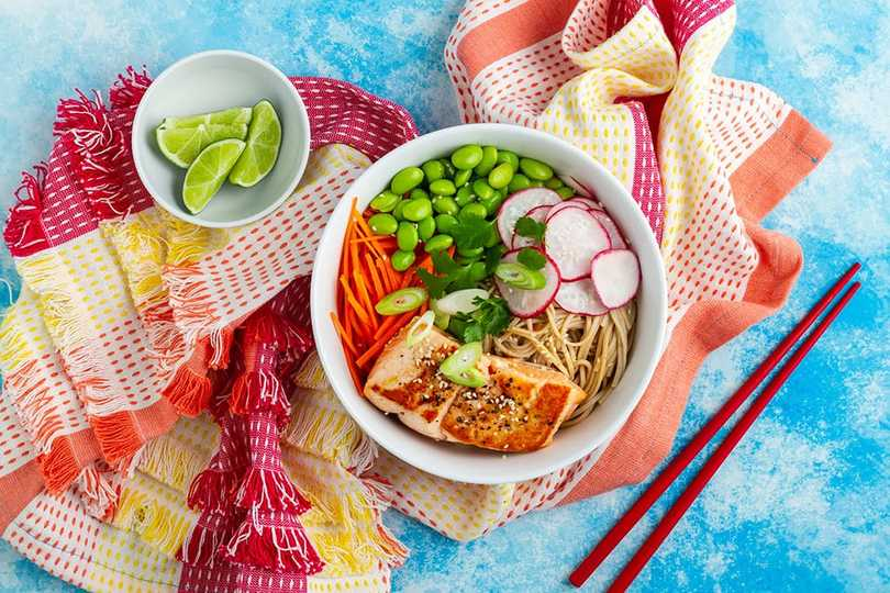 Soba Noodles, Ginger And Salmon Salad Bowl
