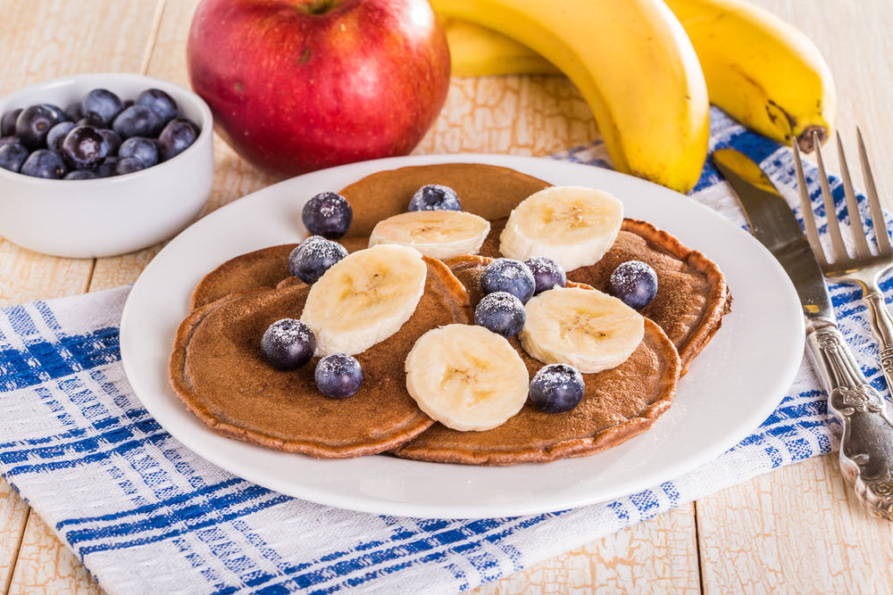 banana and chocolate protein pancakes