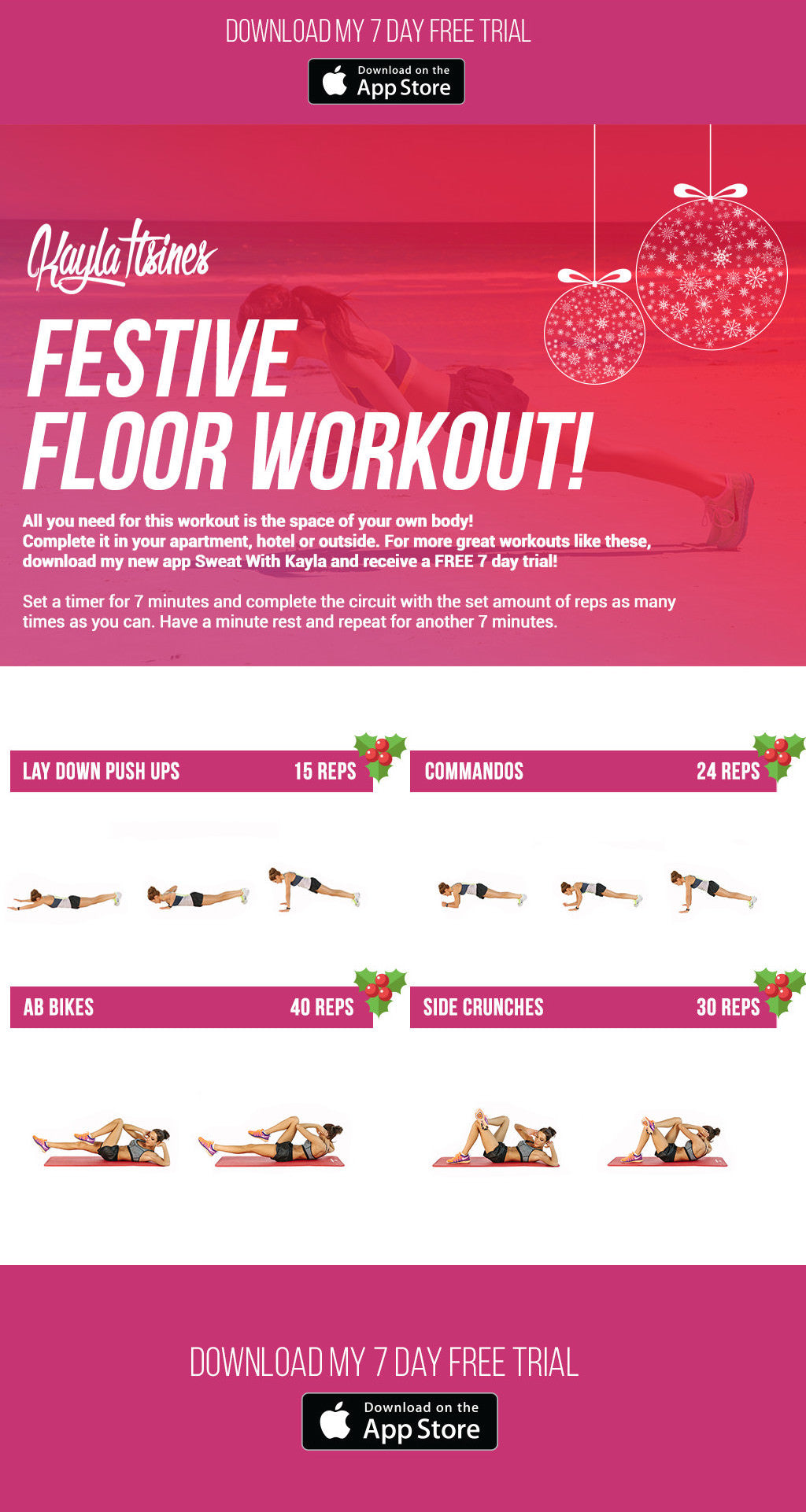 Festive floor workout kayla itsines for Floor workout