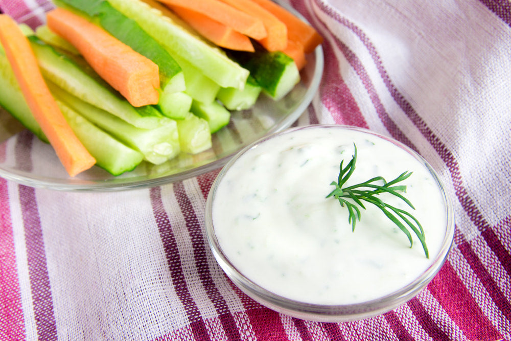 veggie sticks with herb yoghurt