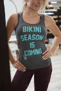 BIKINI SEASON IS COMING grey tank