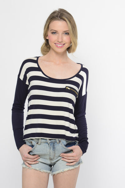 Nautical Navy and White Striped Top