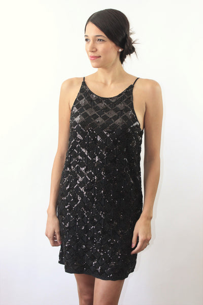 Night Groove Black Sequin Dress