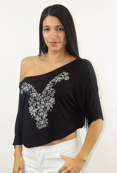 Ava Black Graphic Top