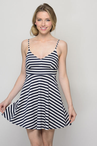 Striping Beauty Navy and White Dress