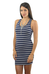 Across the Bay Navy Striped Dress - Dear Havana