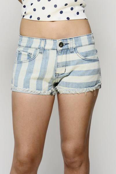 Stole Me Away Blue and White Stripe Shorts